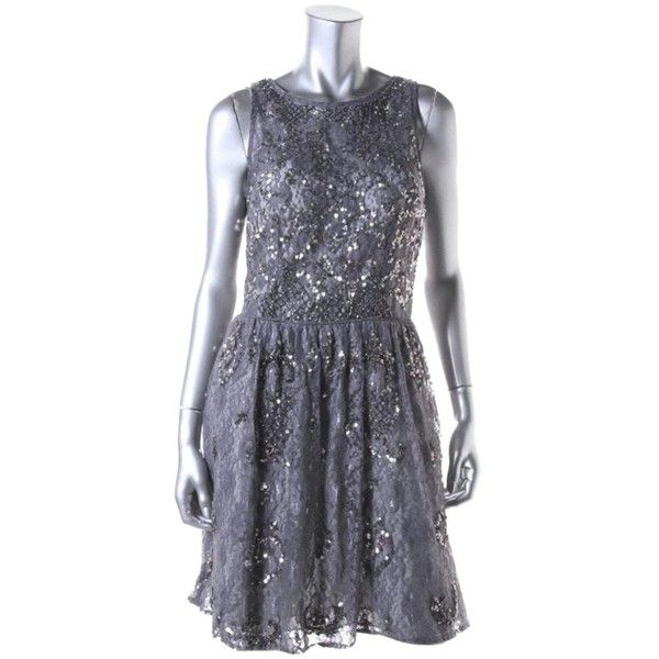 Pre-owned Aidan Mattox Cocktail Dress ($154) ❤ liked on Polyvore featuring dresses, grey silver, petite, sequin dress, aidan mattox dresses, gray sequin dress, cocktail party dress and going out dresses