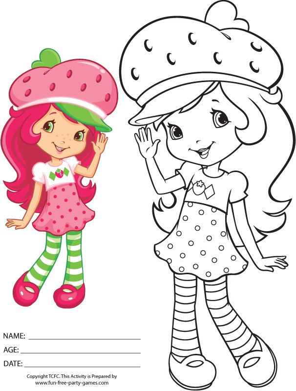 Strawberry Shortcake Coloring Pages: Waving Hello!