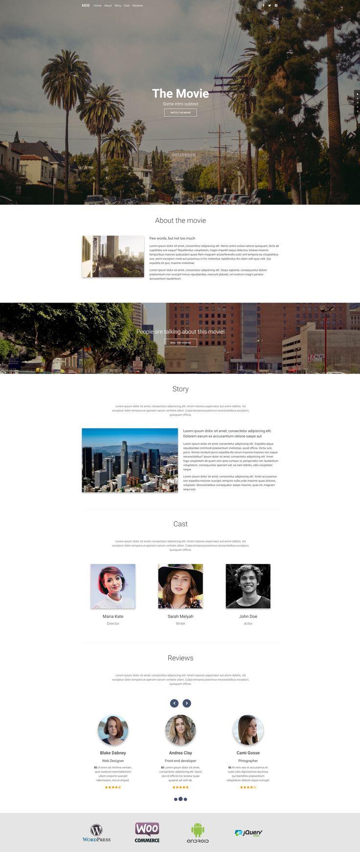 Creative Movie Portfolio, enhances with Material Design for Bootstrap