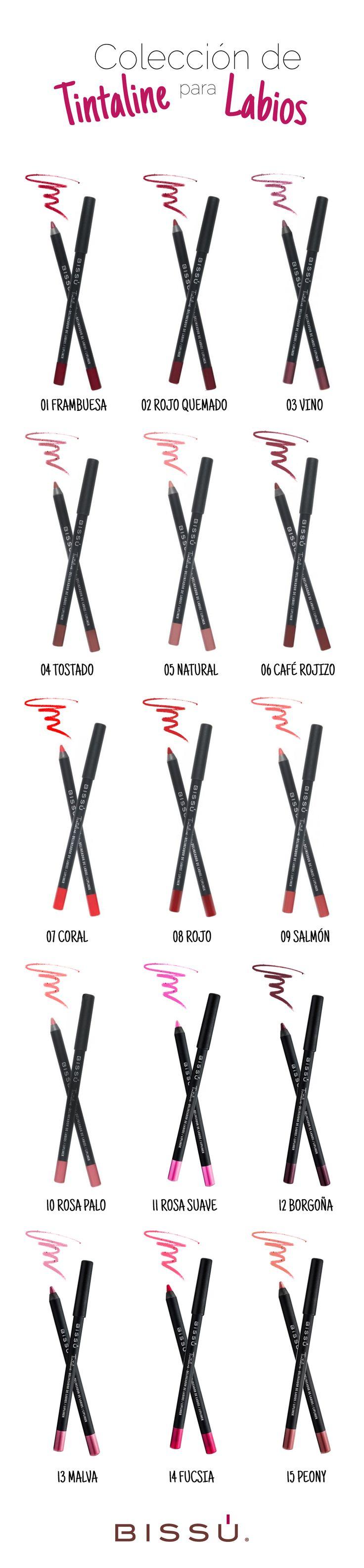 Conoce los tonos disponibles de mis Tintaline. ¡Te van a encantar! http://tiendaweb.bissu.com/labios/10-tintaline-para-labios.html