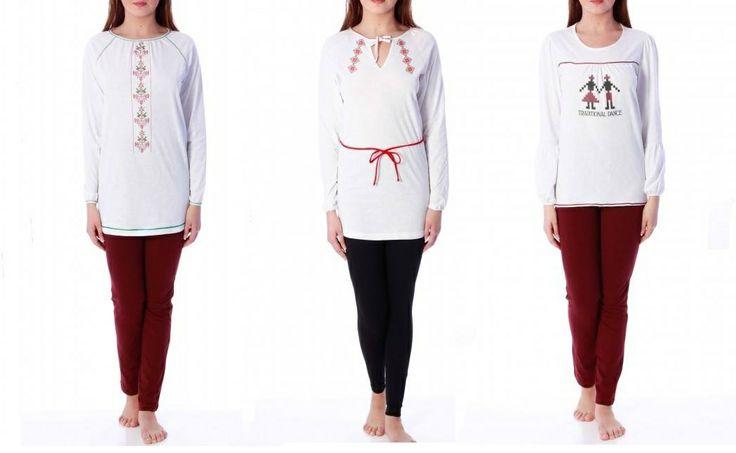Pijamale facute in Romania de compania Sofiaman. Colectia 2013, cu imprimeuri inspirate de cusaturile de pe ii.