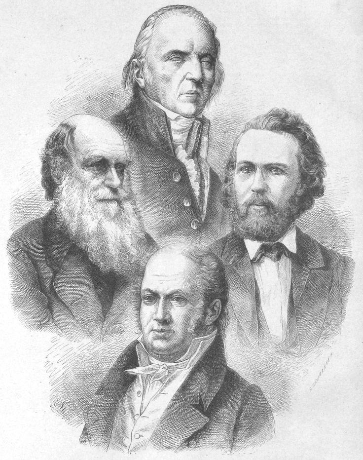 Οι τέσσερις μεγάλοι εξελικτικοί βιολόγοι του 19ου αιώνα, ο Ζαν Μπατίστ Λαμάρκ (πάνω, 1744-1829), ο Κάρολος Δαρβίνος (αριστερά, 1809-1882), ο Ερνστ Χέκελ (δεξιά, 1834-1919) και ο Ετιέν Ζοφρουά ντε Σεν Ιλέρ (κάτω, 1772-1844).