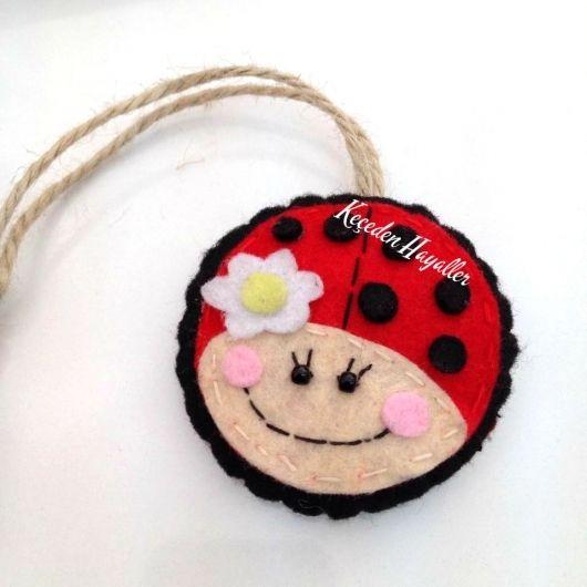 Keçe Uğur böceği bebek şekeri - Ladybug felt craft handmade