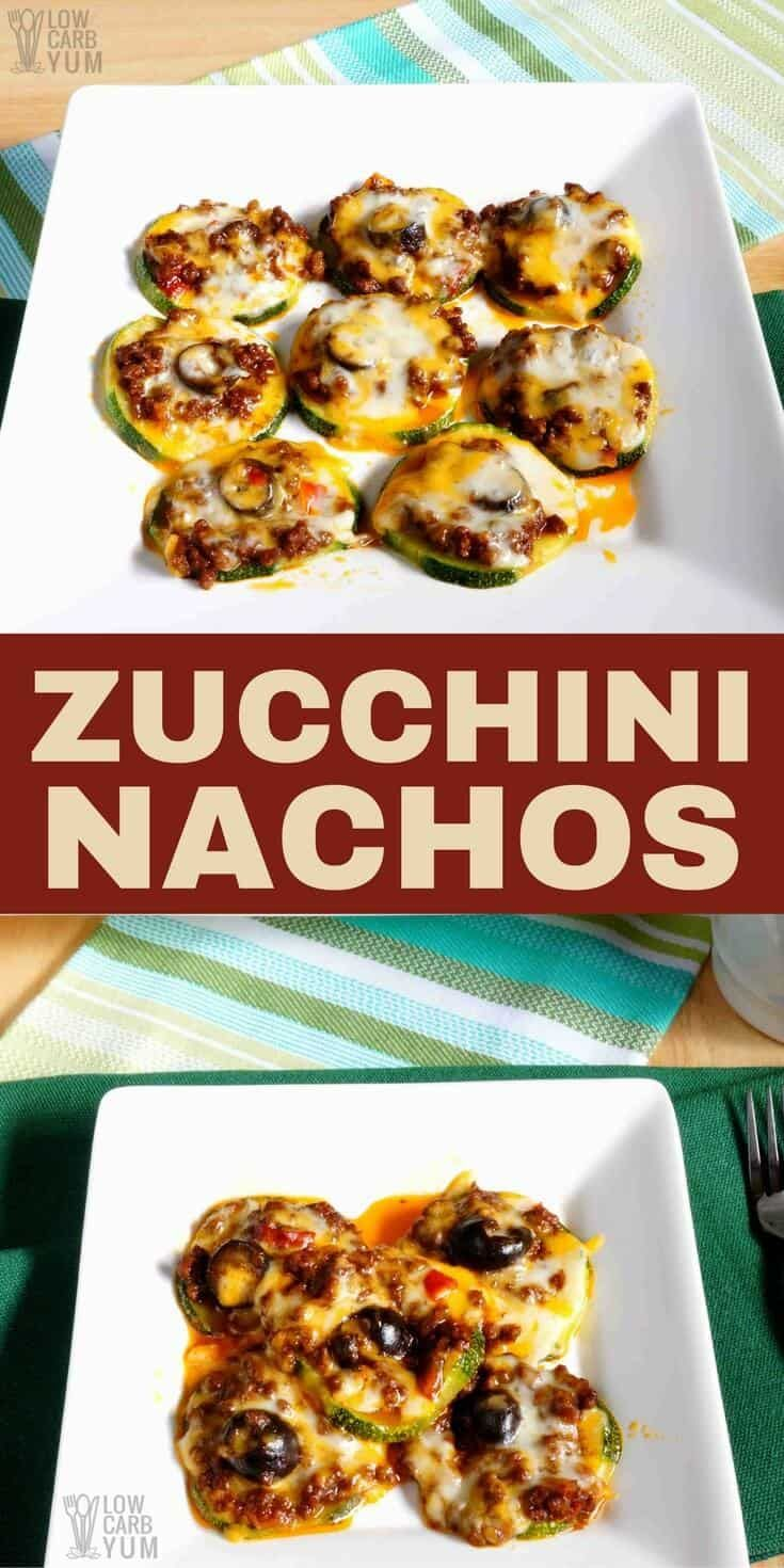 It's easy to make healthy zucchini nachos baked with leftover no bean chili. These low carb nachos make a great keto snack or appetizer that's quick to prepare. #ketorecipe #keto #lowcarb #chili | LowCarbYum.com via @lowcarbyum