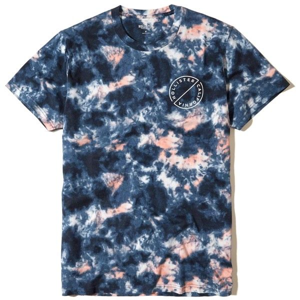 Hollister Tie-Dye Graphic Tee ($20) ❤ liked on Polyvore featuring men's fashion, men's clothing, men's shirts, men's t-shirts, tops, navy tie dye, mens navy blue shirt, mens tie dye shirts, mens crew neck t shirts and mens navy blue t shirt