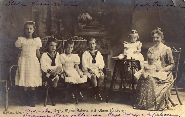 Marie Valerie with her children.