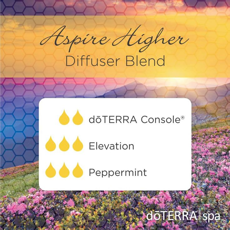 Aspire Higher Diffuser Blend 2 doTERRA Console blend 3 drops Elevation blend 3 drops Peppermint essential oil  Enjoy this diffuser blend?  Follow me on Instagram for additional doTERRA essential oil tips!  https://www.instagram.com/essentialoilswithbetsy