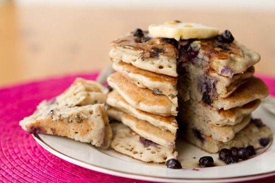 Vegan & Gluten-Free Vanilla Blueberry Buckwheat Pancakes...so delicious you can eat 'em plain! #recipes