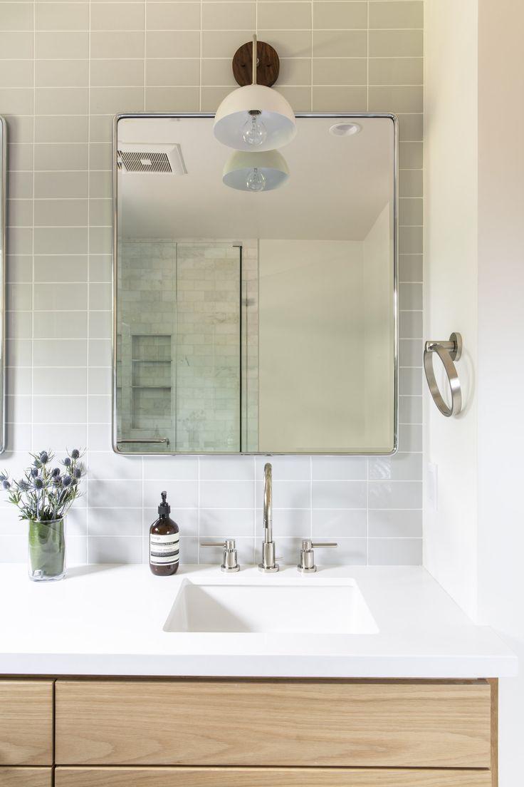 Modern wood hardwareless vanity + white quartz countertop ...