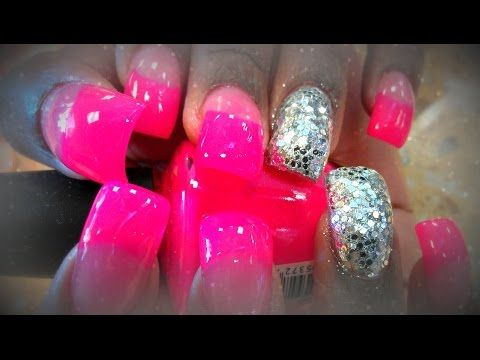 This nail has a slight bump on the acrylic nail bed. Pink Half Tips colored  and silver glitter dip on nail art design. - 61 Best Curved Nails Images On Pinterest Acrylic Nail Designs