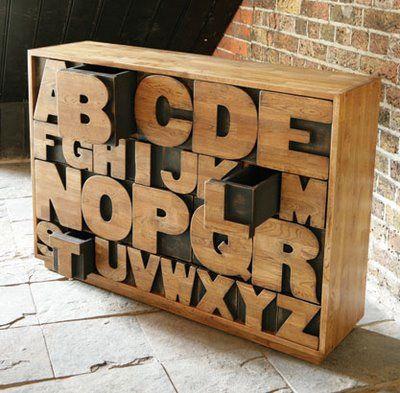 Alphabet drawers.