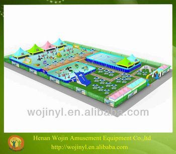 Hot summer giant mobile water park site/funny and commercial swimming pool park equipment