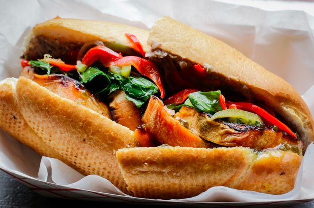 Made with roasted sweet potato and local greens, this healthy po' boy from Killer Po' Boys is delicious! Find it in a pop-up shop in the back of Erin Rose bar in the French Quarter.