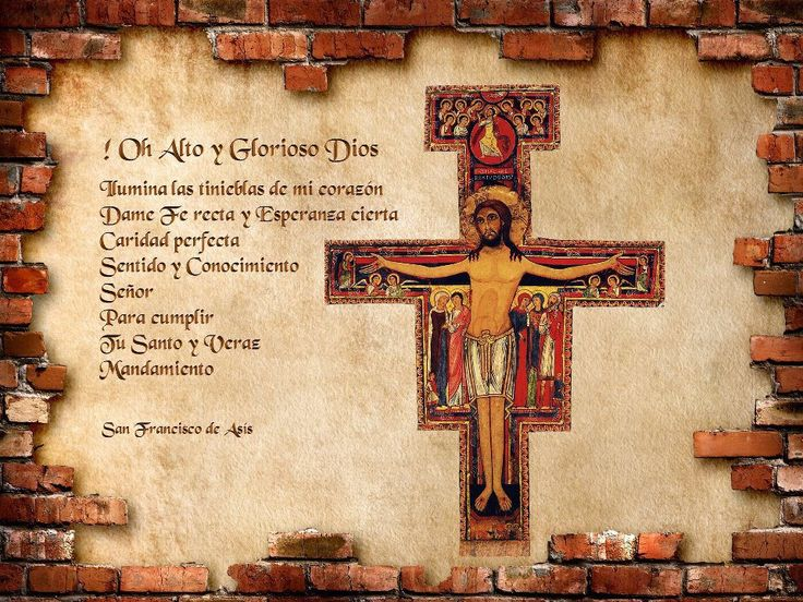 oración de San Francisco de Asís frente a la cruz de san Damian