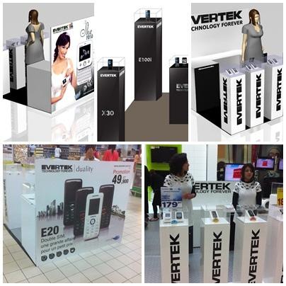 Un stand Evertek créé par des designers Tunisiens. Evertek croit aux talents de son pays.