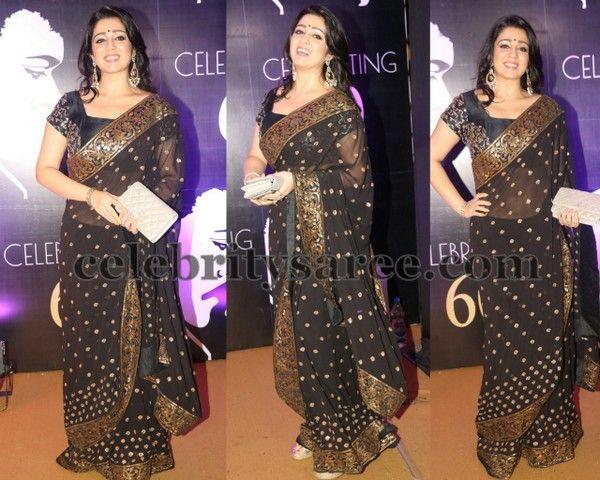 Charmi in Black Polka Dots Saree - Saree Blouse Patterns