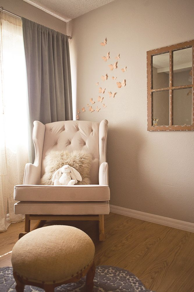 soft peach and gray nursery - vintage window mirror and paper butterflies on the wall