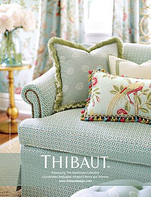 Gatehouse introduces clean, traditional designs in a bright new palette with a charming English appeal. Birds, butterflies, and vibrant flowers create an impression of a lush English garden vista. Fresh shades of raspberry, fern, lemon yellow, and purple haze accentuate the embroideries and watercolor techniques in this beautifully crafted collection. Gatehouse PDF Patterns Used Leon on sofa, Cardiff on rear pillow, Newman on front pillow and draperies.