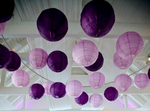 Paper lanterns ... pretty in purple!  Shop all shades of purple at http://www.partylights.com/Lanterns/Lanterns-by-Color.