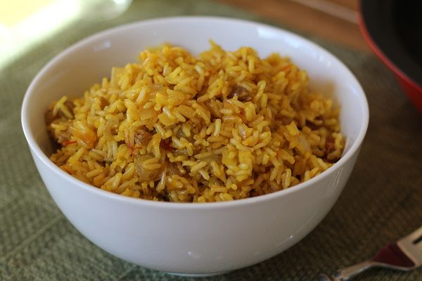 Saffron Rice with pine nuts and golden raisins