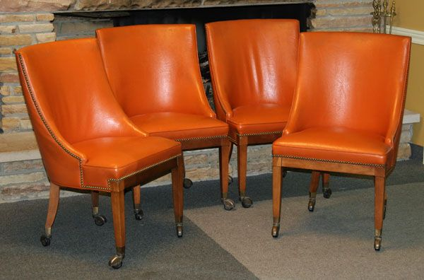Set Of Four 1970s Vintage Modern Orange Faux Leather