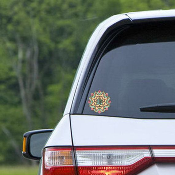 Monogrammed car decal mandala stickers for car by togildthelily