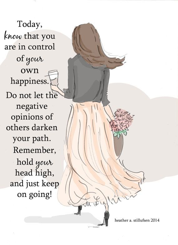 You Know You Are In Control of You Own Happiness  Control of own happiness  * hand drawn and colored digitally * This is a print of my original illustration. * Printed on archival fine art paper. * She will come signed and dated by me, the artist  Heres What People Are Saying About Heathers Work   So delicate and pretty  Beautiful pictures and words  The cutest designs ever, they always make me smile! I love everything about your cards...artistry, sayings, the simplicity of them...just…