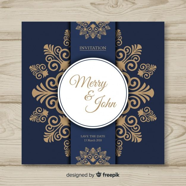 Ornamental Wedding Card Template Free Vector Wedding Cards Wedding Invitation Cards Wedding Invitation Card Design