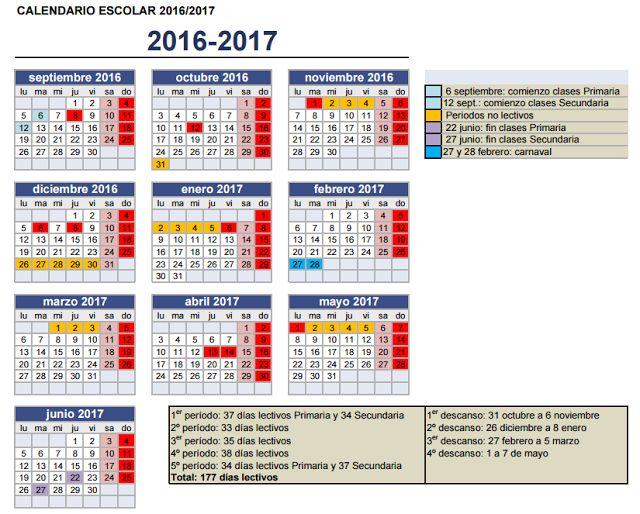 Calendario Escolar 2016 - 2017 - Pregúntale al Profesor
