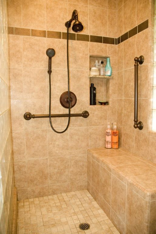 Residential Handicap Bathroom Layouts | Universal Design Bathrooms, I like the built in shower seat
