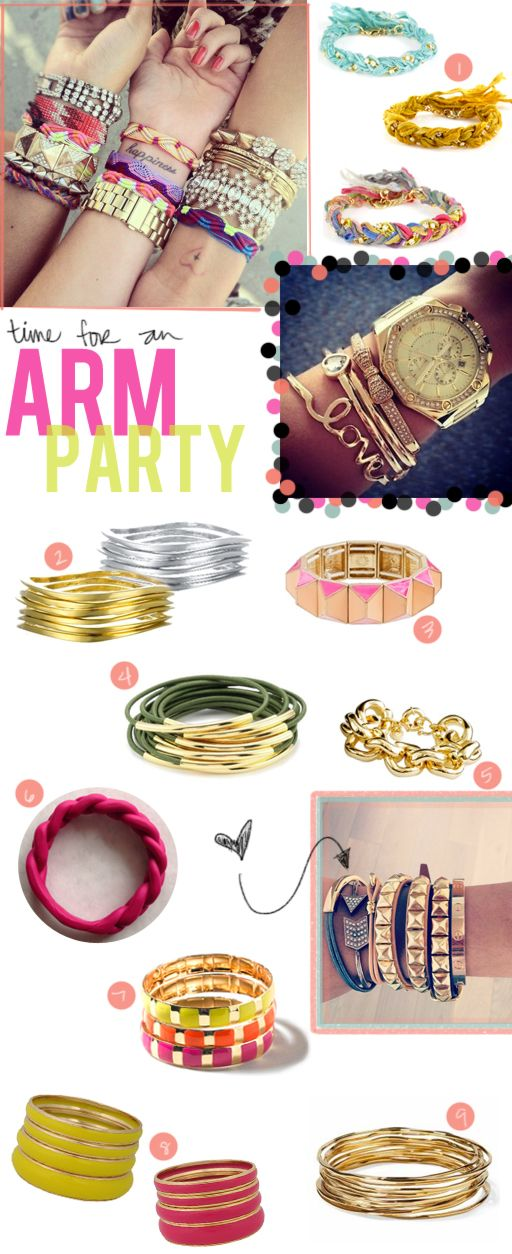 ARM PARTY!! Good ideas for layering bracelets.