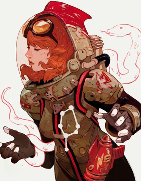 Female astronaut with snake by Sachin Teng