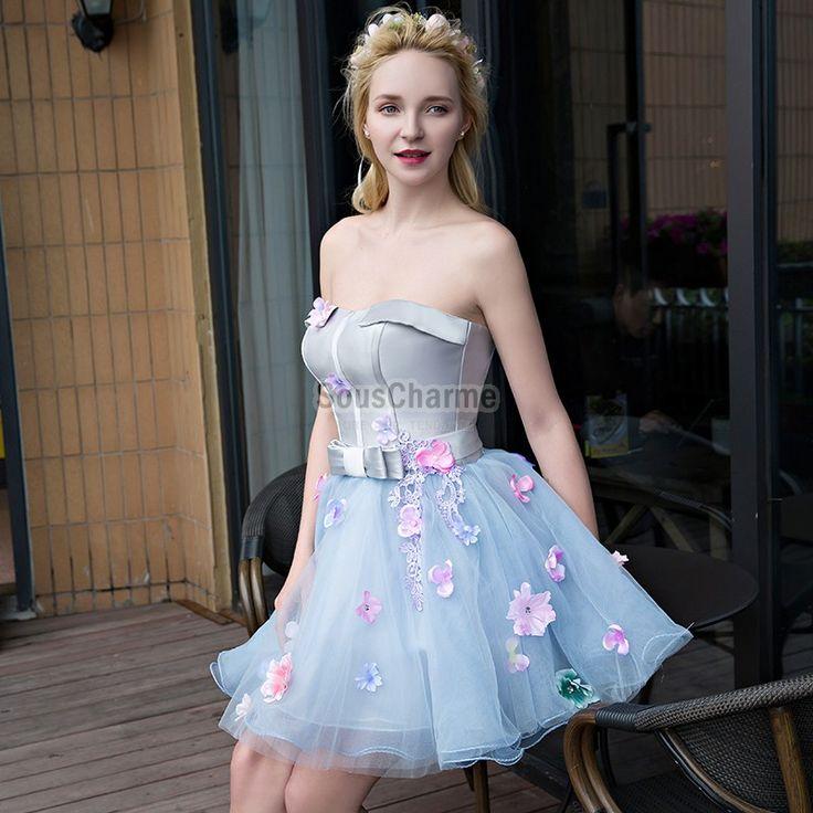 robe cocktail pas cher pour mariage à bustier revers jupe tutu évasée en tulle bleu clair à fleurs