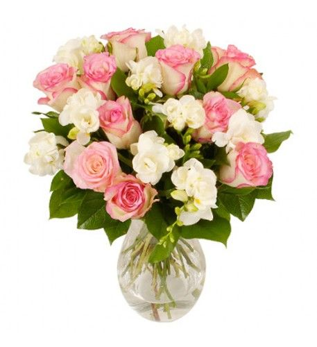 Pink roses and white freesias make a sensual, fragrant combination - perfect for demonstrating your love, appreciation and affection. This is a classic hand-tied bouquet suitable for all occasions.