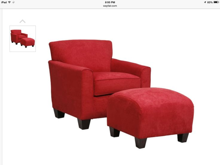 Crimson chair and ottoman
