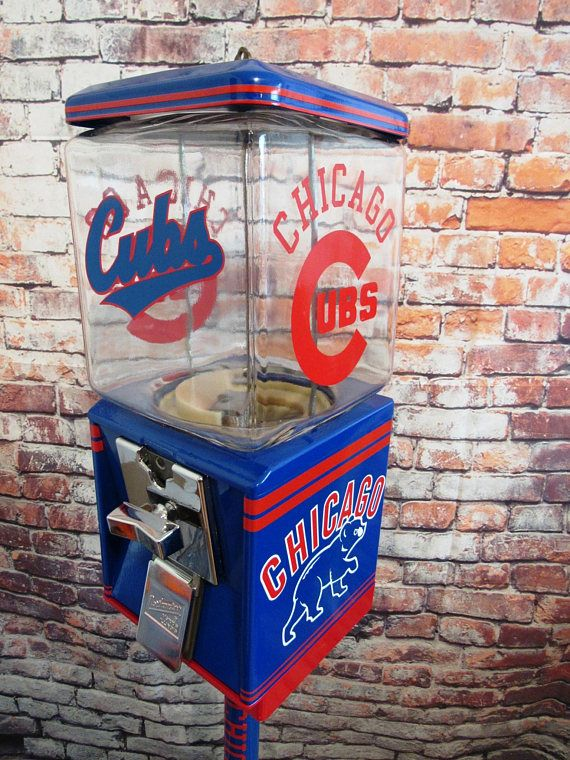 Chicago Cubs inspired vintage gumball candy machine + stand novelty gift man cave living room Sport memorabilia