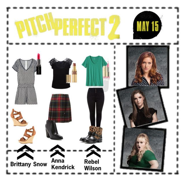 """""""Pitch Perfect 2: Brittany Snow (Chloe), Anna Kendrick (Beca) and Rebel Wilson (Fat Amy)"""" by helliii ❤ liked on Polyvore featuring J.Crew, GUESS, Smashbox, Armani Jeans, Yves Saint Laurent, Joe's Jeans, Lands' End, Marc by Marc Jacobs, women's clothing and women"""