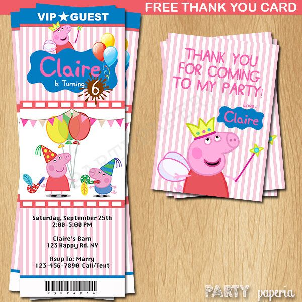 A personal favorite from my Etsy shop https://www.etsy.com/listing/245605818/peppa-pig-invitation-peppa-pig-ticket