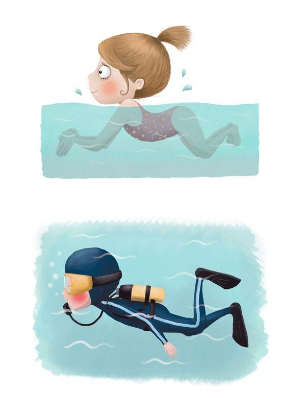 """Illustrations for children's handbook """"Motion 8-9"""" by Jelena Brezovec, via Behance"""