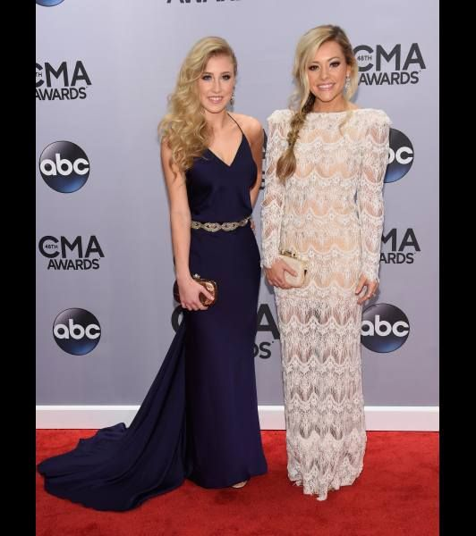 Maddie Marlow and Tae Dye of Maddie & Tae attend the 48th annual CMA Awards at the Bridgestone Arena on November 5, 2014 in Nashville