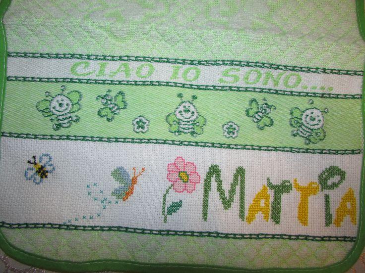 Punto Croce, Nome, Mattia ,Bimbo, verde, api, alfabeto disney