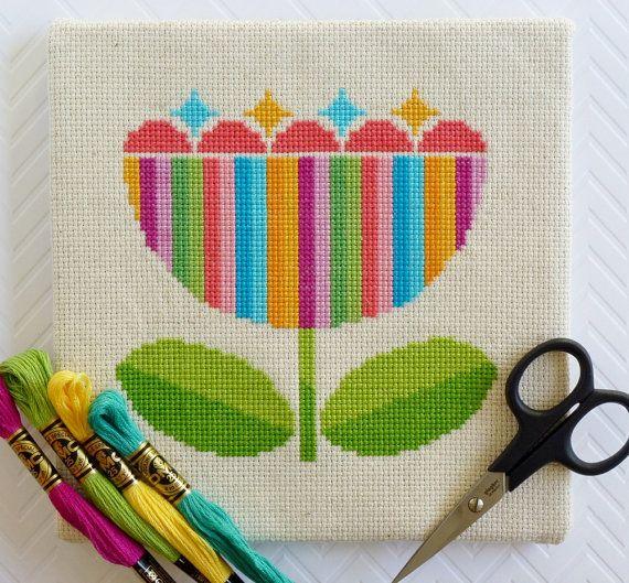 Scandi Flower Modern Cross Stitch Pattern, Instant Download, Beginner Cross Stitch, Modern Embroidery