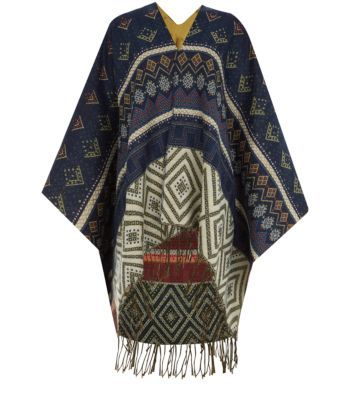 Blue Patterned Tassel Hem Blanket Wrap