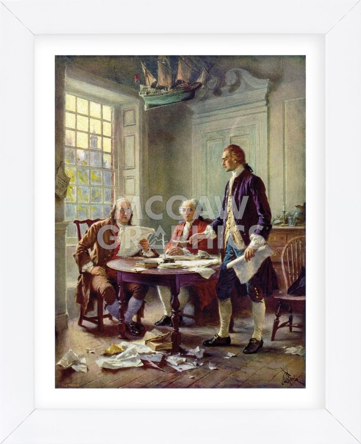 Writing the Declaration of Independence, 1776 (Framed)