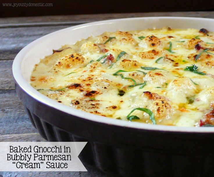 """Baked Gnocchi in Bubbly Parmesan """"Cream"""" Sauce"""