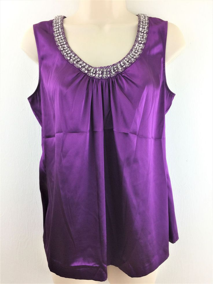 Chicos 1 Satin Tank Top Purple Embellished Sleeveless Shell Blouse Size S M 8 10 #Chicos #Blouse #EveningOccasion