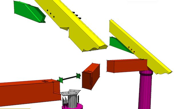 Hexagonal frame plate to rafter connection posts timber for Hexagonal roof framing