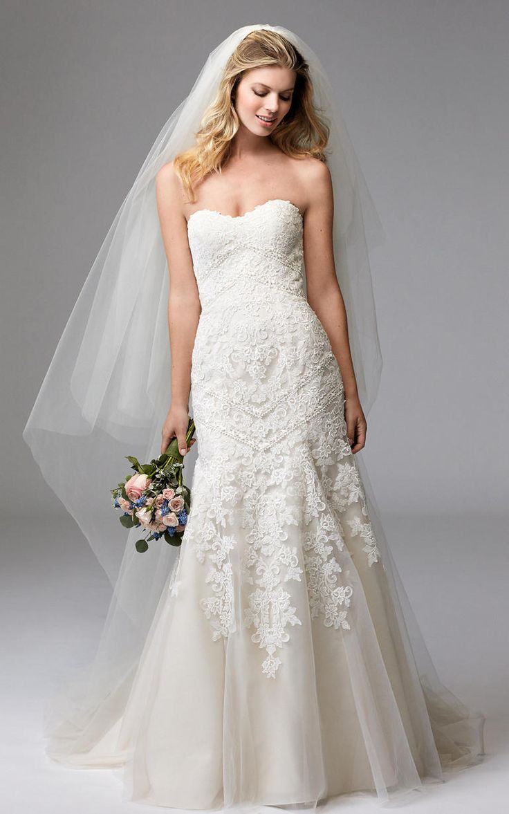 Lace, strapless gown | Wtoo by Watters Fall 2016 | https://www.theknot.com/content/wtoo-wedding-dresses-bridal-fashion-week-fall-2016