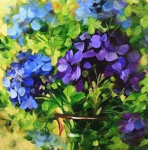 Dappled Light Blue Hydrangeas, 14X14, blooming in Flower Mound Studio this morning!
