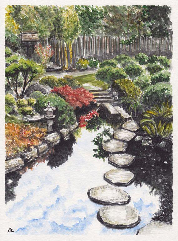 Aquarelle Originale Dun Jardin Japonais Authentique Avec La